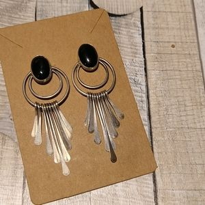 Vintage Sterling Silver Fringe Onyx  Earrings